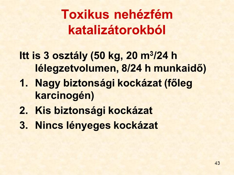 Toxikus nehézfém katalizátorokból
