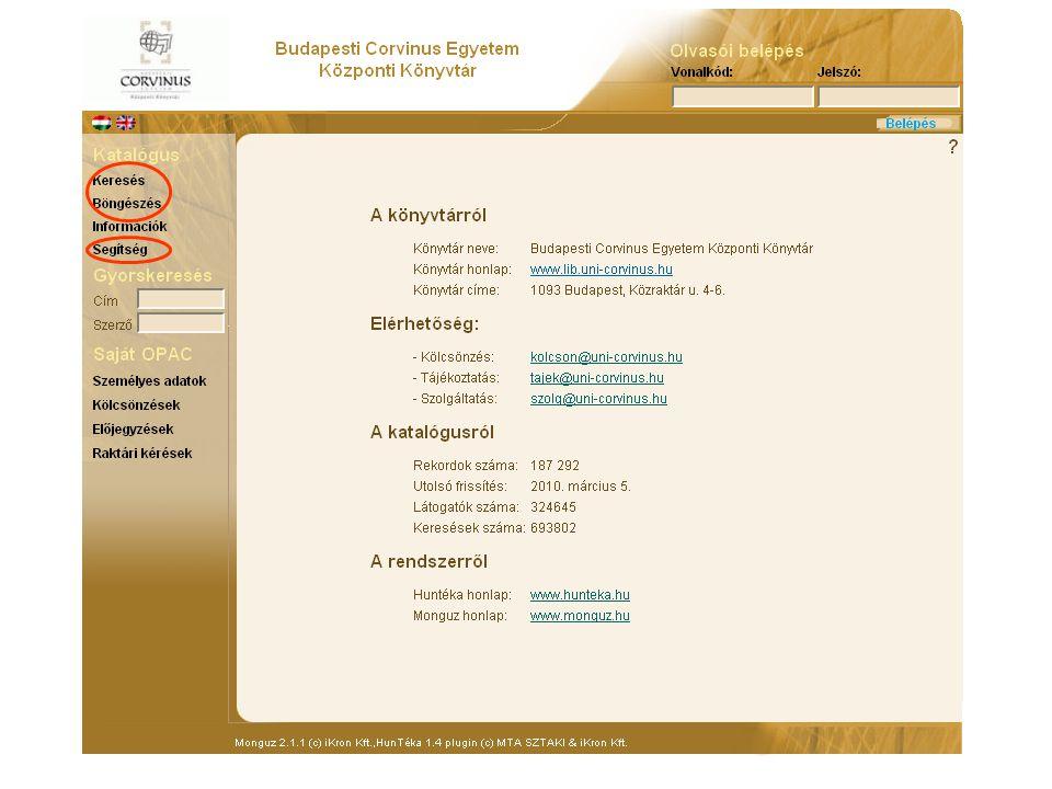 Corvinus Egyetemi Könyvtár katalógusának működés