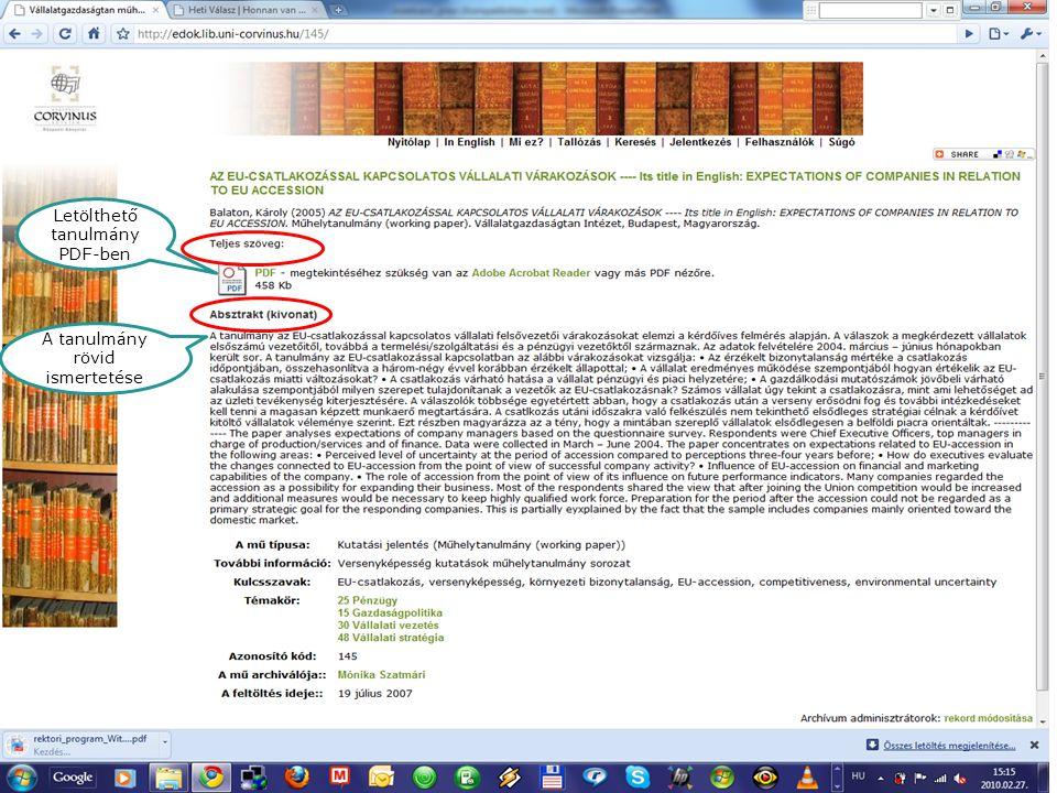 E-folyóiratok Letölthető tanulmány PDF-ben