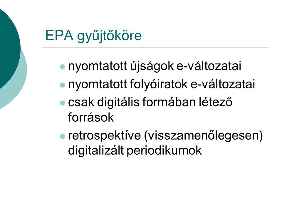 EPA gyűjtőköre nyomtatott újságok e-változatai