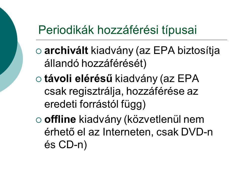 Periodikák hozzáférési típusai