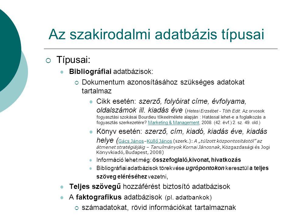 Az szakirodalmi adatbázis típusai
