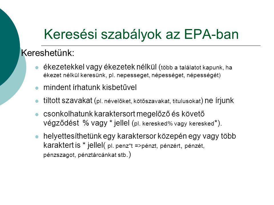 Keresési szabályok az EPA-ban