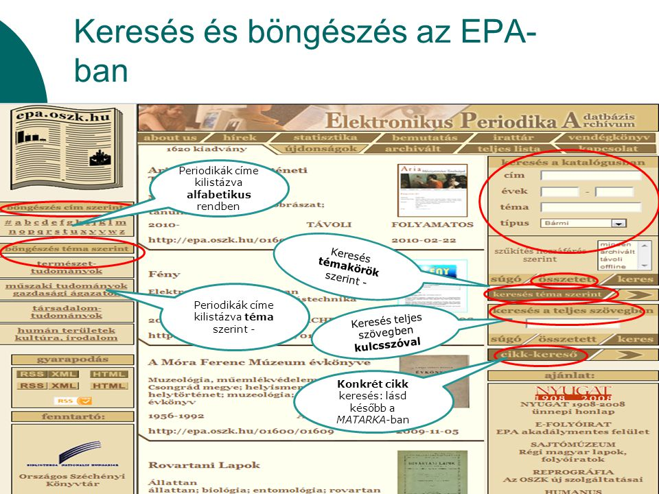 Keresés és böngészés az EPA- ban