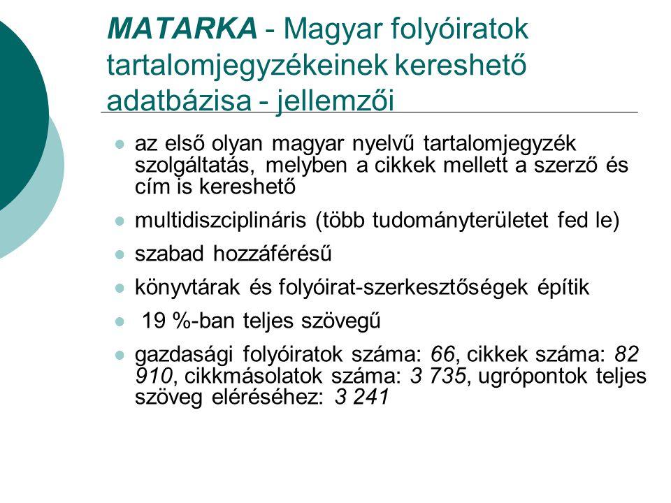 MATARKA - Magyar folyóiratok tartalomjegyzékeinek kereshető adatbázisa - jellemzői