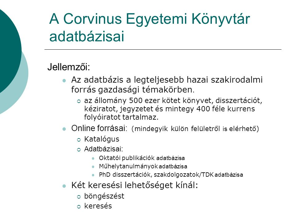 A Corvinus Egyetemi Könyvtár adatbázisai