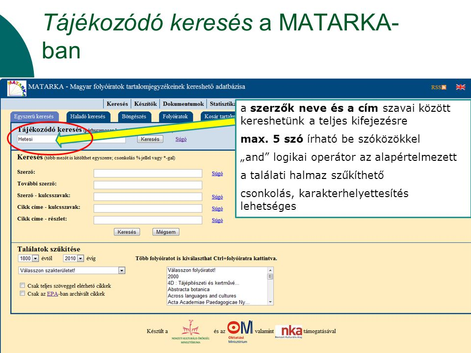 Tájékozódó keresés a MATARKA-ban