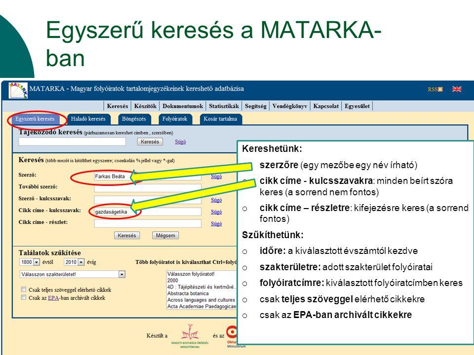 Egyszerű keresés a MATARKA-ban