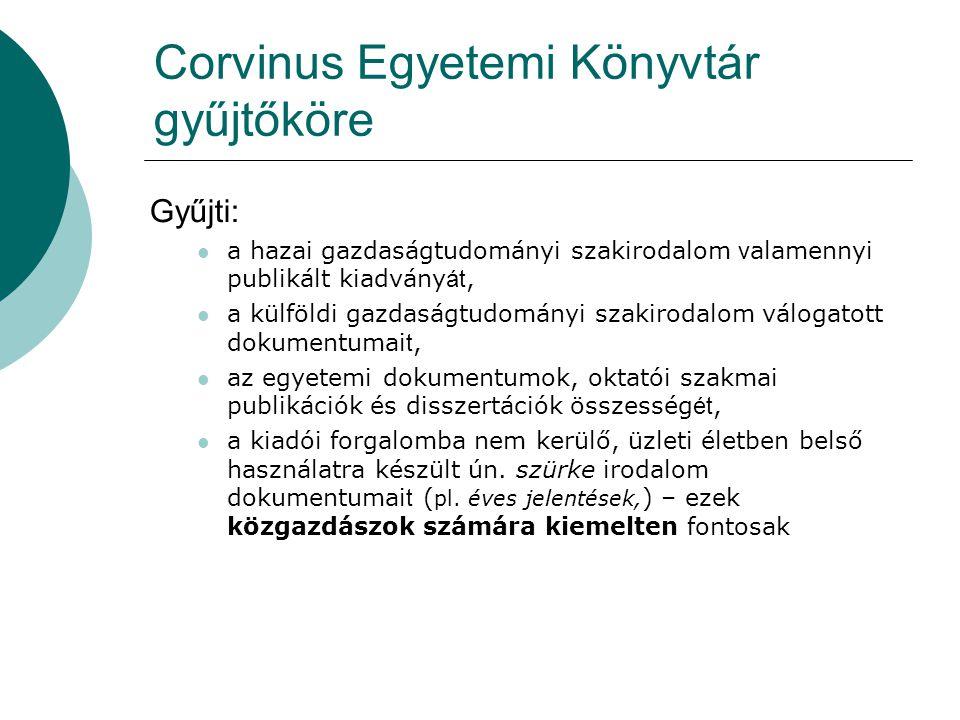 Corvinus Egyetemi Könyvtár gyűjtőköre