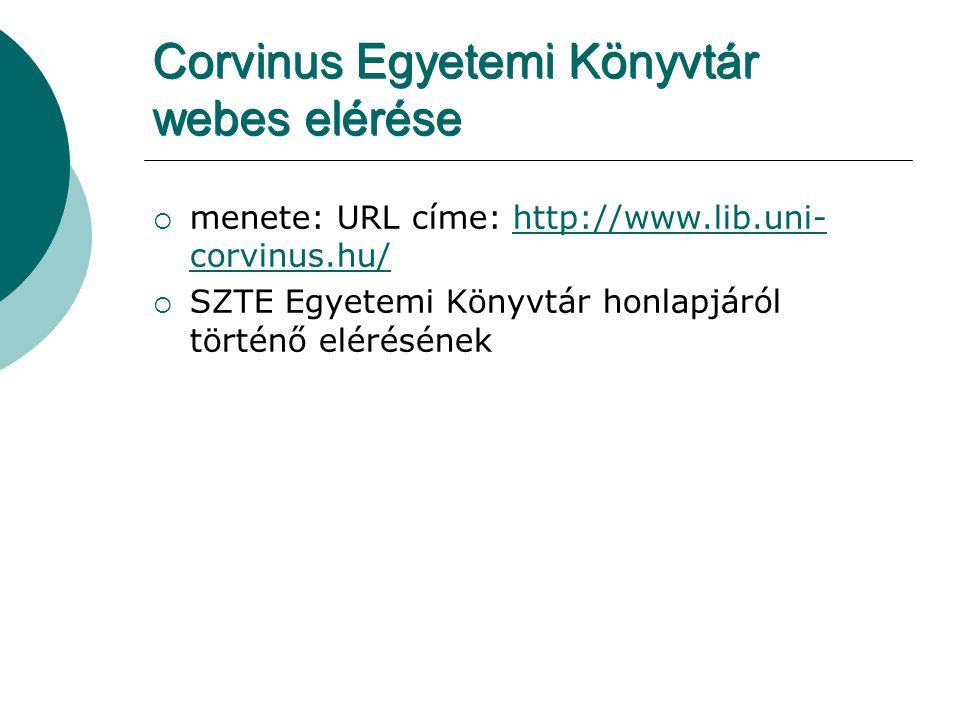 Corvinus Egyetemi Könyvtár webes elérése