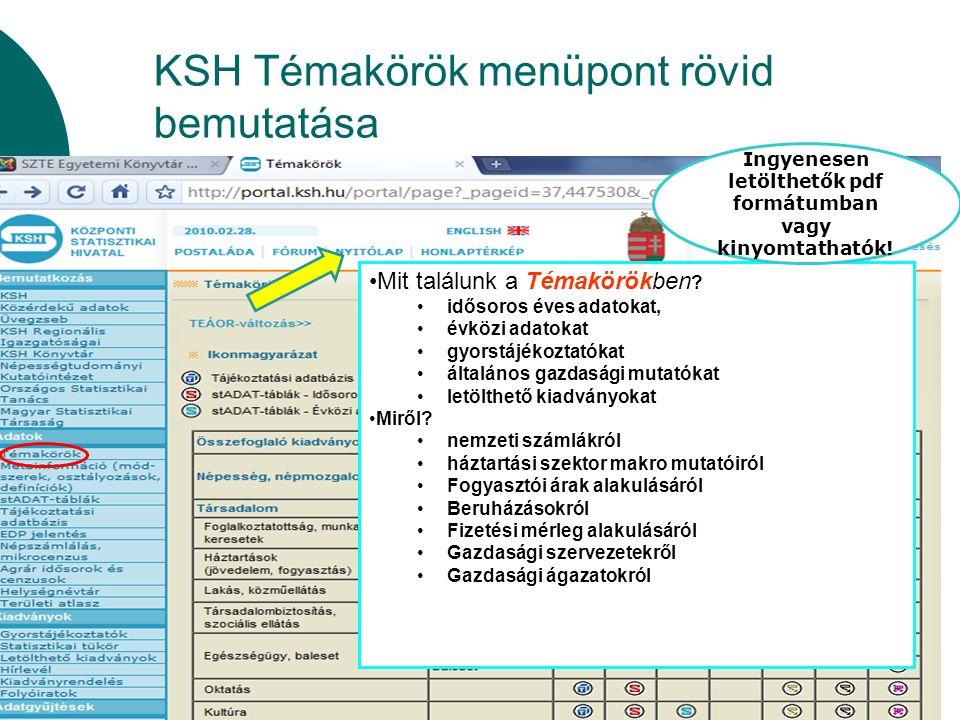 KSH Témakörök menüpont rövid bemutatása