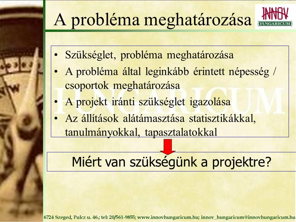 A probléma meghatározása