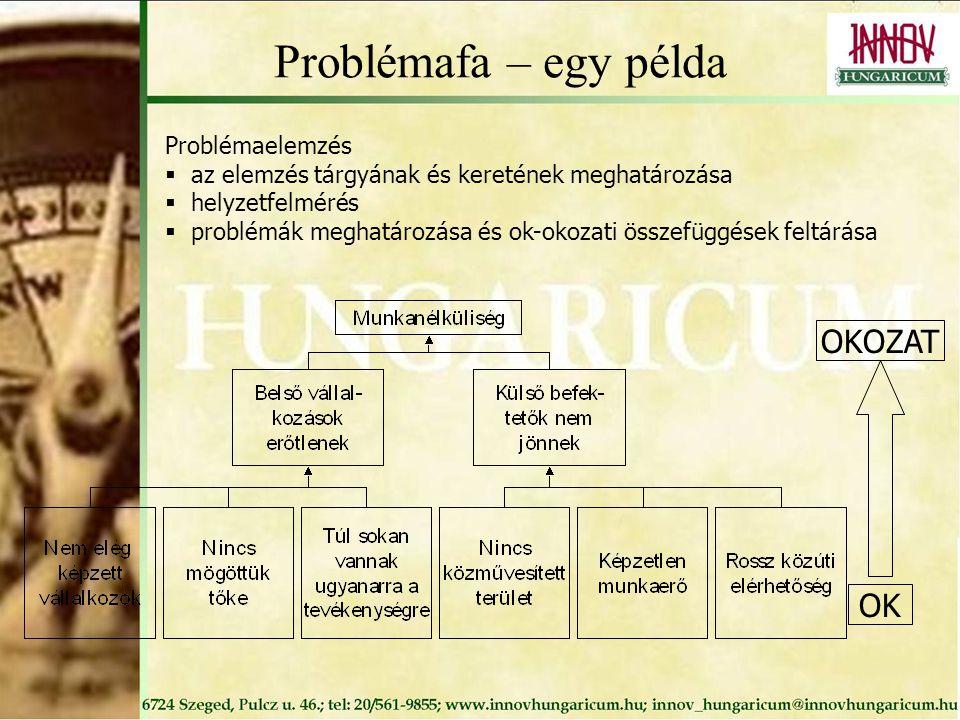 Problémafa – egy példa OKOZAT OK Problémaelemzés