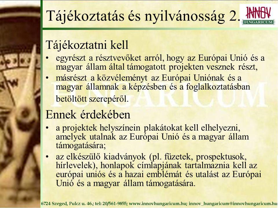 Tájékoztatás és nyilvánosság 2.