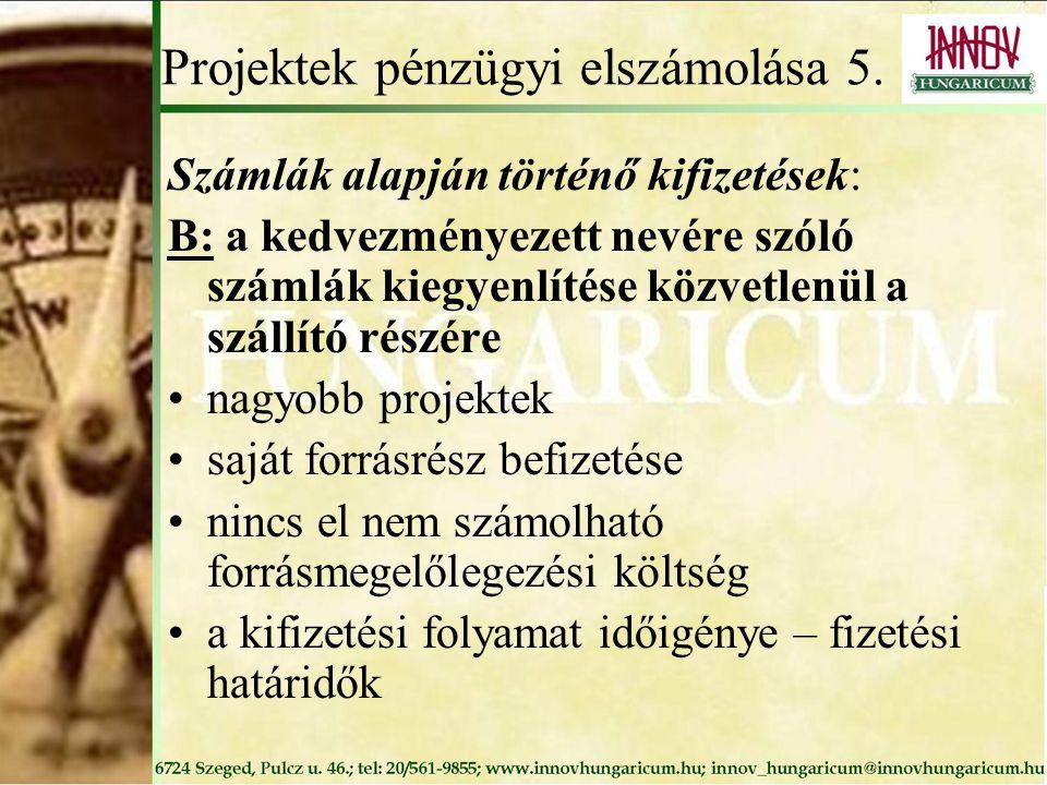 Projektek pénzügyi elszámolása 5.