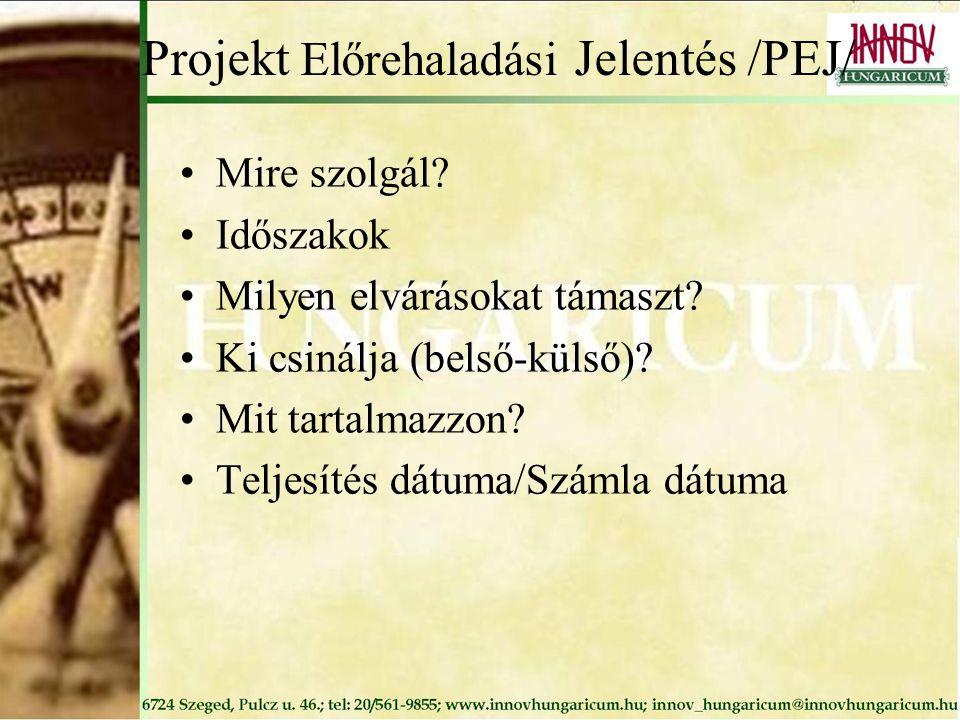 Projekt Előrehaladási Jelentés /PEJ/