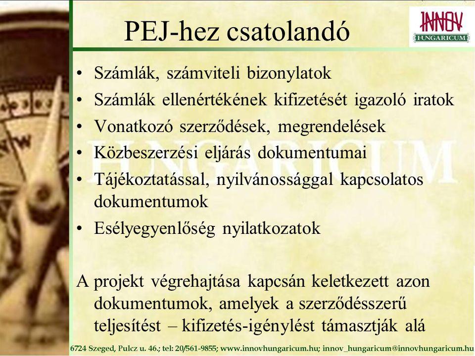PEJ-hez csatolandó Számlák, számviteli bizonylatok