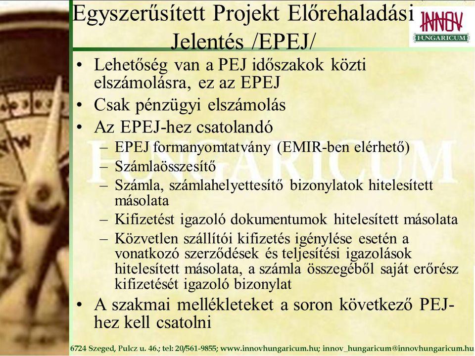 Egyszerűsített Projekt Előrehaladási Jelentés /EPEJ/