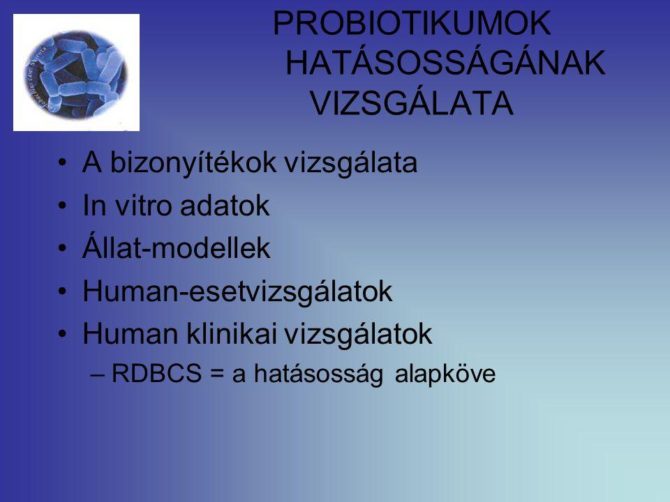 PROBIOTIKUMOK HATÁSOSSÁGÁNAK VIZSGÁLATA