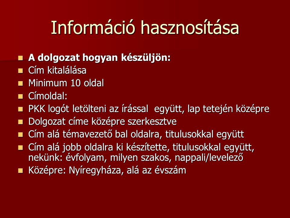 Információ hasznosítása