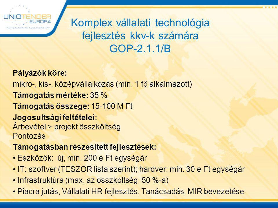 Komplex vállalati technológia fejlesztés kkv-k számára GOP-2.1.1/B