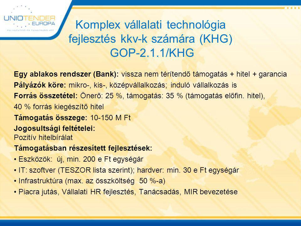 Komplex vállalati technológia fejlesztés kkv-k számára (KHG) GOP-2. 1