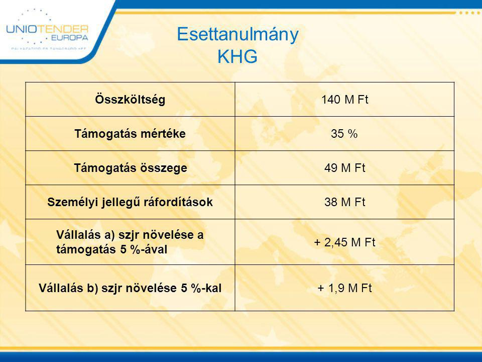 Esettanulmány KHG Összköltség 140 M Ft Támogatás mértéke 35 %
