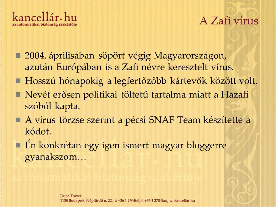 A Zafi vírus 2004. áprilisában söpört végig Magyarországon, azután Európában is a Zafi névre keresztelt vírus.