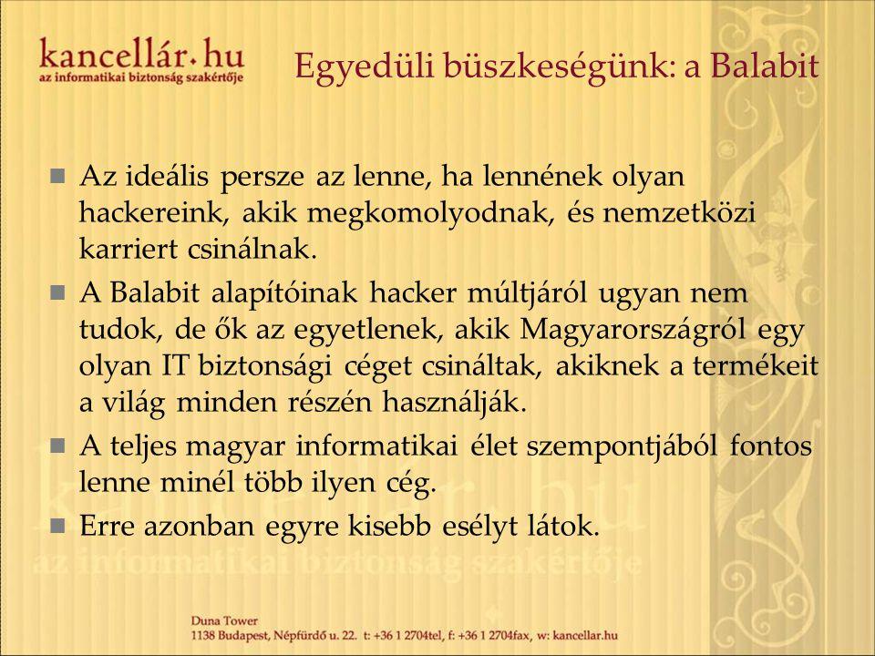 Egyedüli büszkeségünk: a Balabit