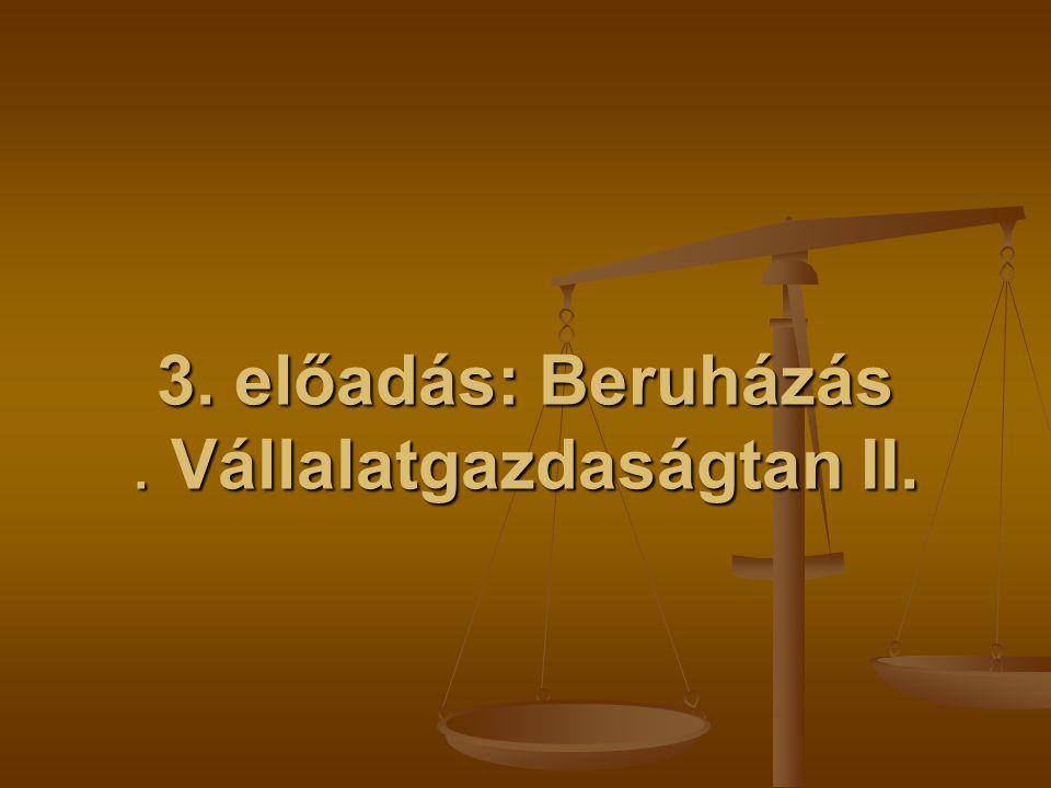 3. előadás: Beruházás . Vállalatgazdaságtan II.
