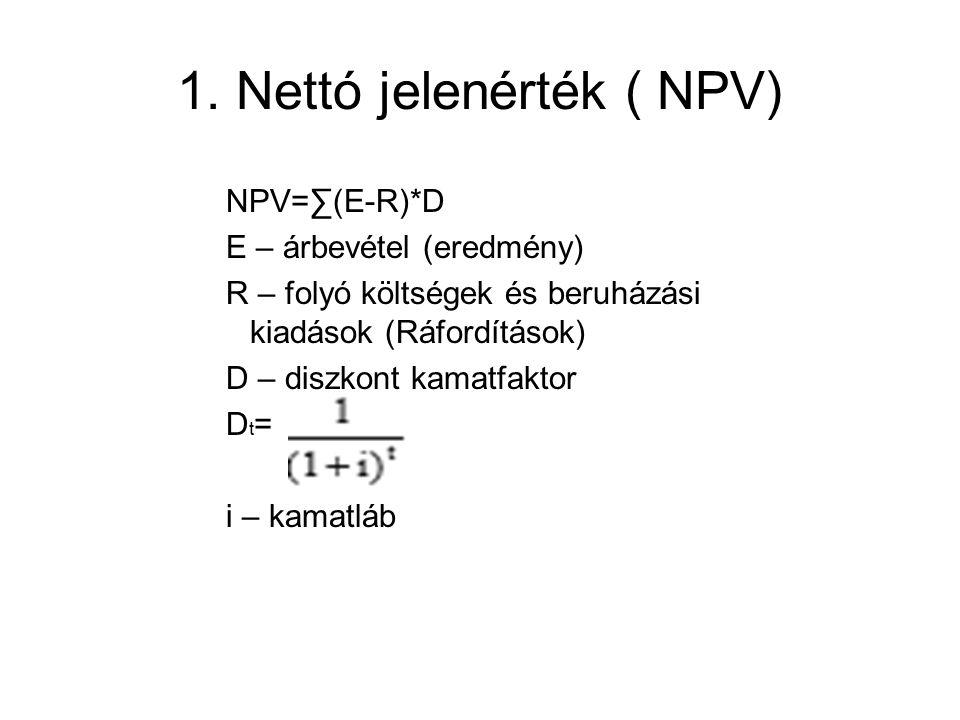 1. Nettó jelenérték ( NPV)