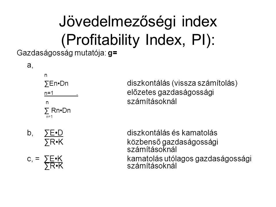 Jövedelmezőségi index (Profitability Index, PI):