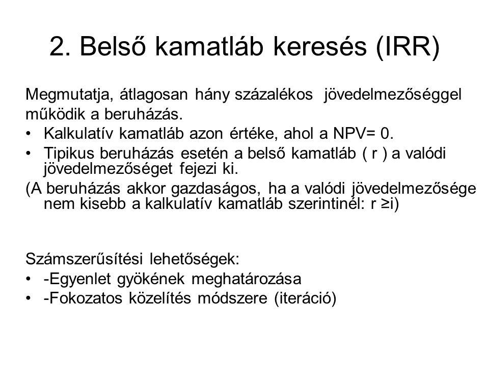 2. Belső kamatláb keresés (IRR)