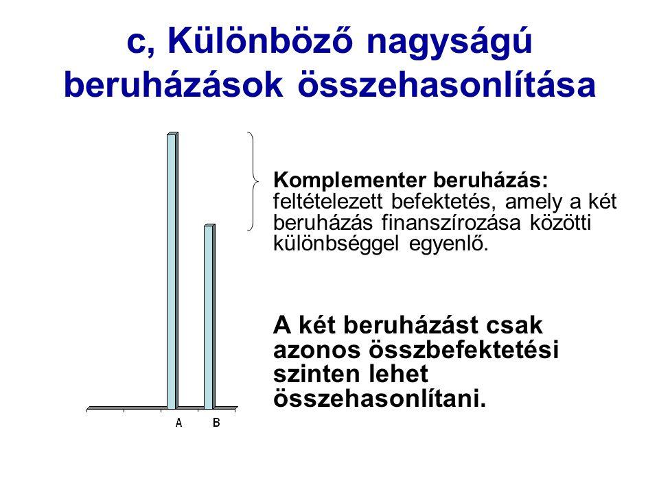 c, Különböző nagyságú beruházások összehasonlítása