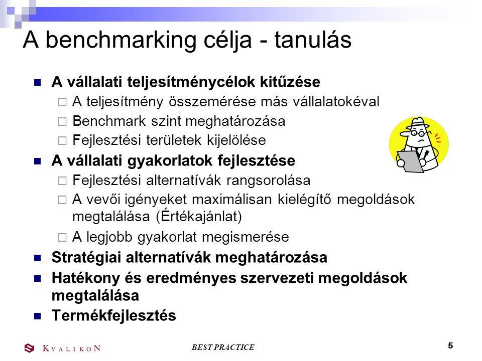 A benchmarking célja - tanulás
