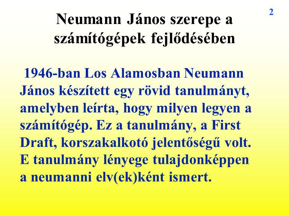 Neumann János szerepe a számítógépek fejlődésében