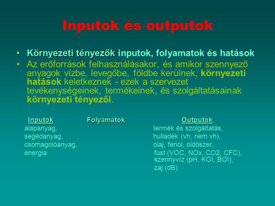 Inputok és outputok Környezeti tényezők inputok, folyamatok és hatások