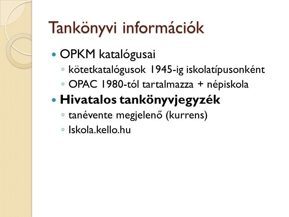 Tankönyvi információk