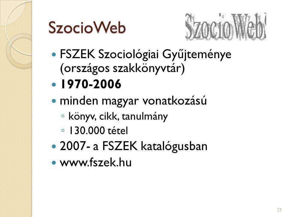 SzocioWeb FSZEK Szociológiai Gyűjteménye (országos szakkönyvtár)