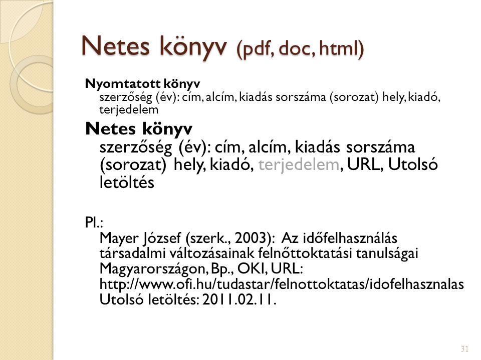 Netes könyv (pdf, doc, html)