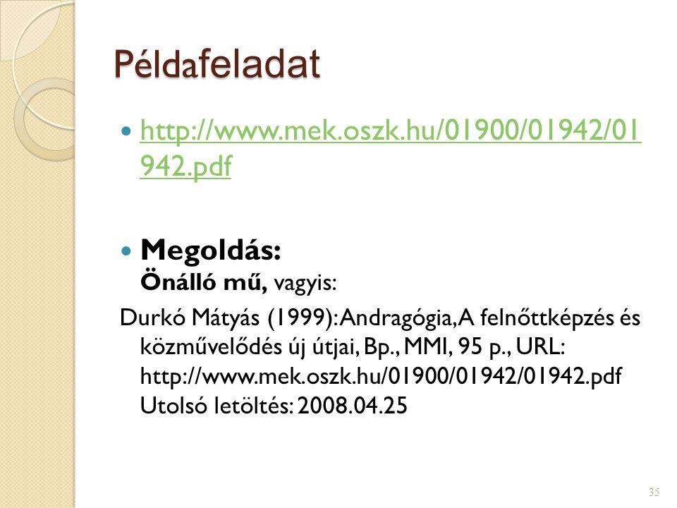 Példafeladat http://www.mek.oszk.hu/01900/01942/01 942.pdf