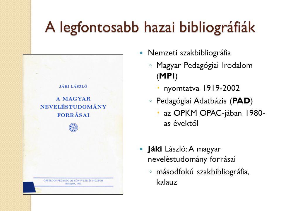 A legfontosabb hazai bibliográfiák
