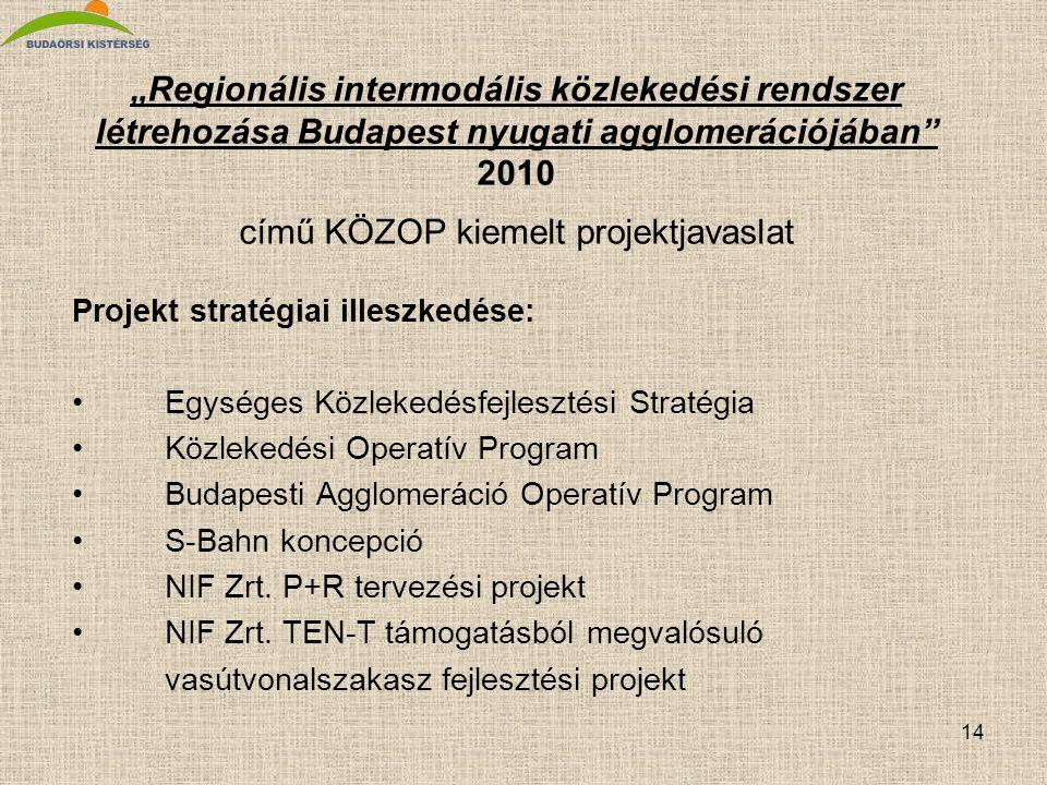 """""""Regionális intermodális közlekedési rendszer létrehozása Budapest nyugati agglomerációjában 2010 című KÖZOP kiemelt projektjavaslat"""