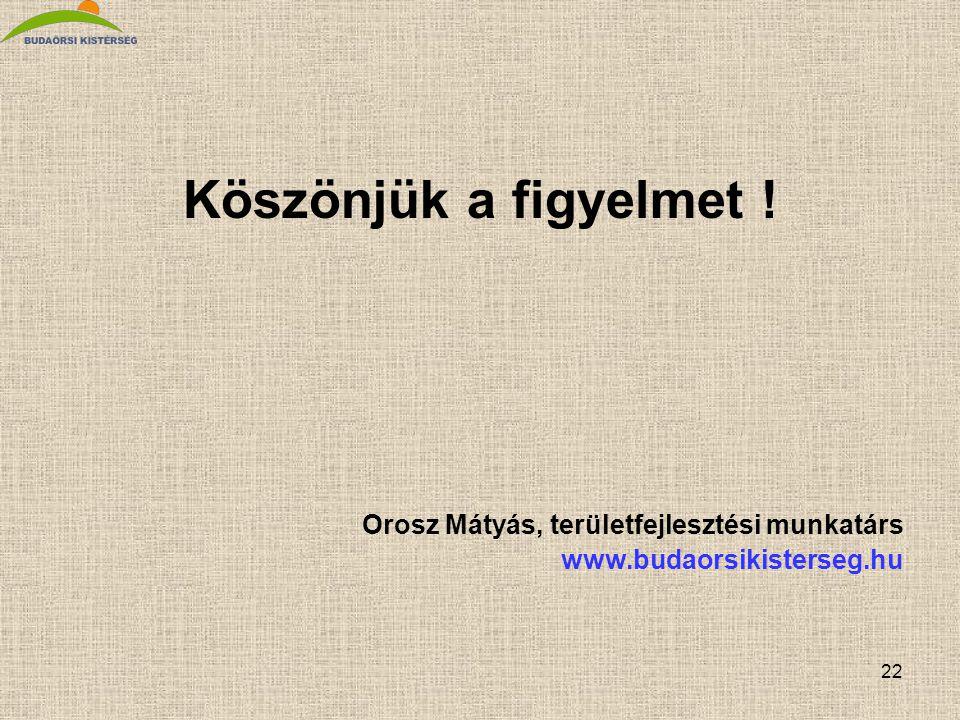 Köszönjük a figyelmet ! Orosz Mátyás, területfejlesztési munkatárs