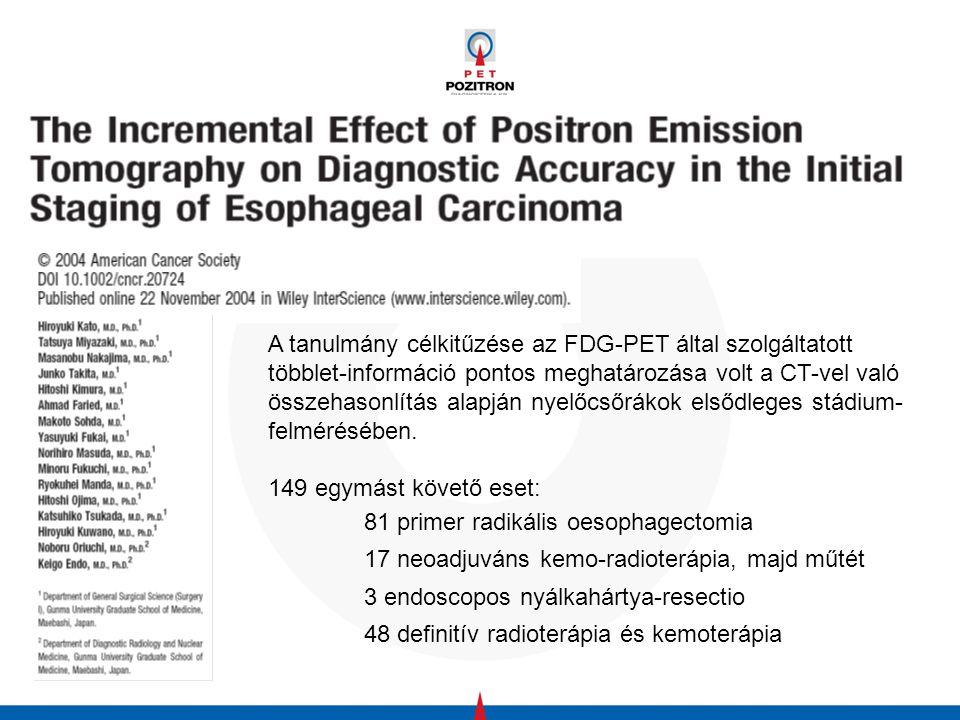 A tanulmány célkitűzése az FDG-PET által szolgáltatott többlet-információ pontos meghatározása volt a CT-vel való összehasonlítás alapján nyelőcsőrákok elsődleges stádium-felmérésében.
