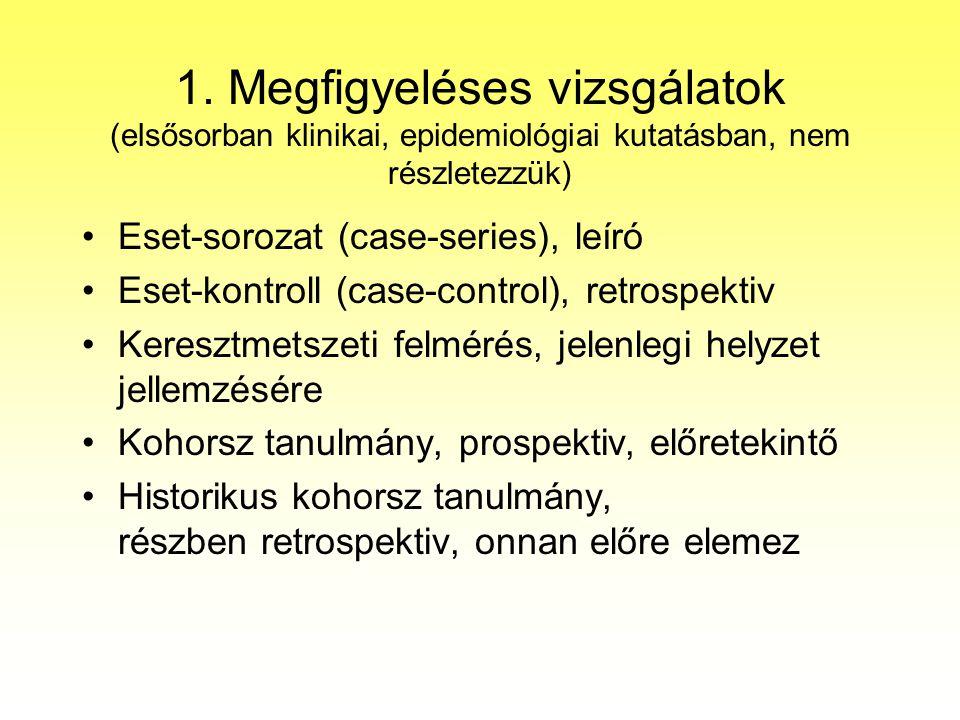 1. Megfigyeléses vizsgálatok (elsősorban klinikai, epidemiológiai kutatásban, nem részletezzük)