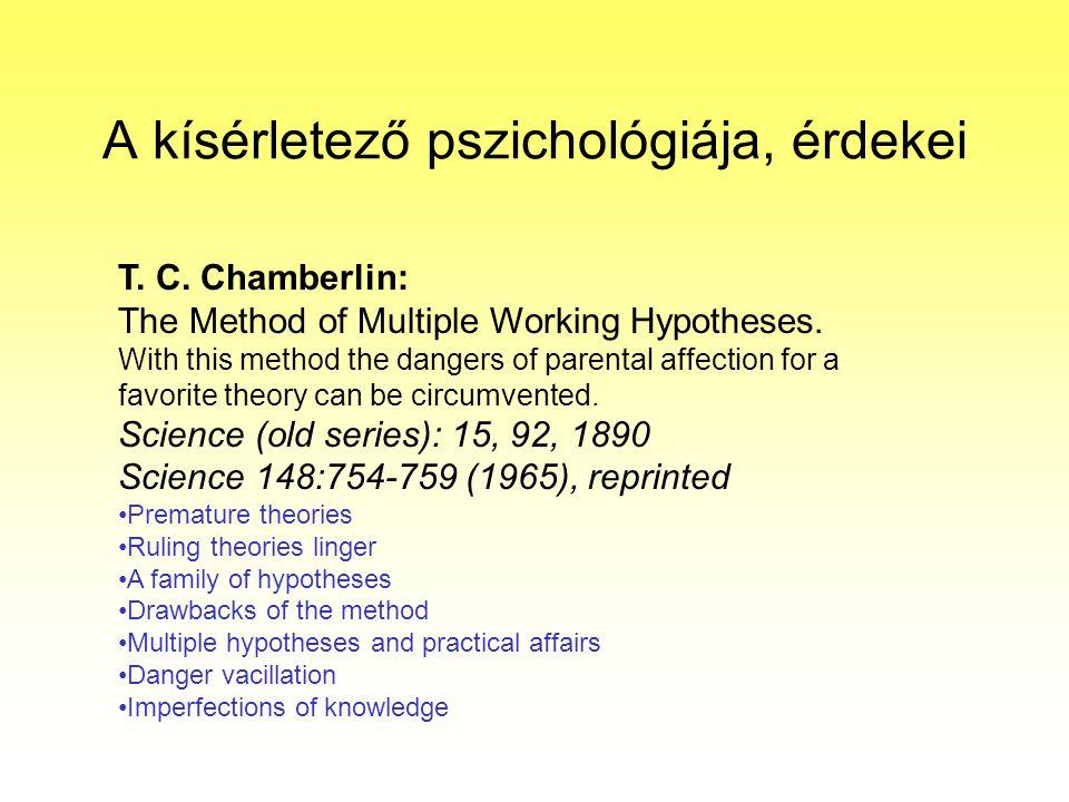 A kísérletező pszichológiája, érdekei