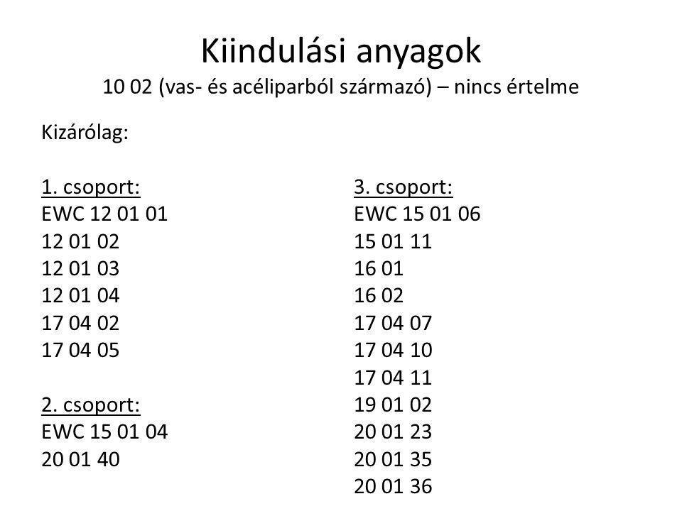 Kiindulási anyagok 10 02 (vas- és acéliparból származó) – nincs értelme