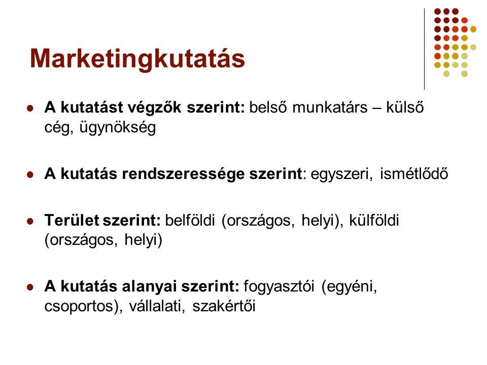 Marketingkutatás A kutatást végzők szerint: belső munkatárs – külső cég, ügynökség. A kutatás rendszeressége szerint: egyszeri, ismétlődő.