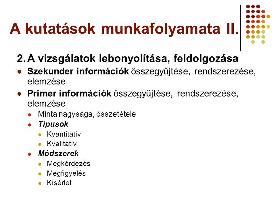 A kutatások munkafolyamata II.